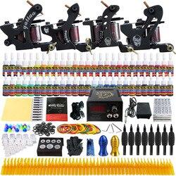 Kit tattoo machine coil liner shader tattoo gun power suppliy inkt naalden handvatten compleet accesorios benodigdheden voor body kunstenaar