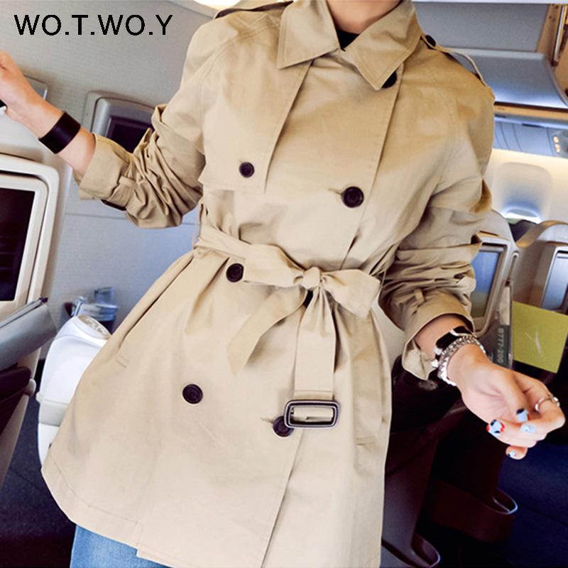 WOTWOY 2019 Autumn Fashion Safari Style Casual Women's Coat Double Breasted Pocket Sashes Women   Trench   Coat Medium-long   Trench