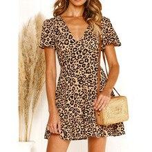 Summer Dress 2019 Women Casual V-Neck Short Sleeve Leopard Print Elegant Bohemian Ladies Loose Beach Party Vestidos