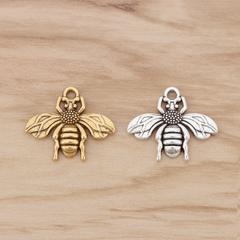 50 x Antique Gold Tone Bumble Bee Honeybee Insects Charms Pendants Beads 13x11mm