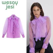 Womens tops and blouses bow full-sleeve organza elegant blusas mujer de moda 2019 transparent mesh chic woman