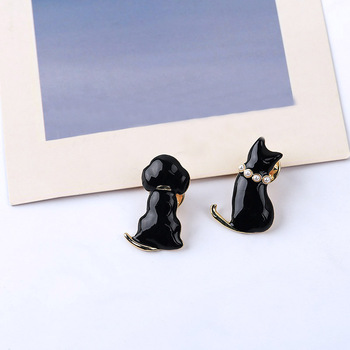 Sansummer New Hot Fashion Pearl Cute Black Cat Dog Animal Simple and Casual Casual Pin Enamel Gift Girl Brooch For Women Jewelry simple fashion mermaid butterfly brooch cute enamel brooch pin for girl women corsage jewelry accessories wholesale