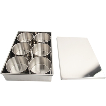 Stainless Steel Seasoning Spice Box Storage Round Container with Clamshell Cover Detachable for Kitchen 6 Grid