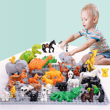 big building blocks accessories farm animals zoo Compatible with Duplos dinosaur lion cat dog monkey hippo children Toys gift