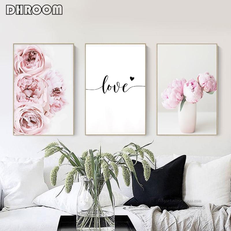 Toile peinture nordique décor rose pivoine fleur affiche et impression amour mur Art Floral photo chambre décor décoration de la maison