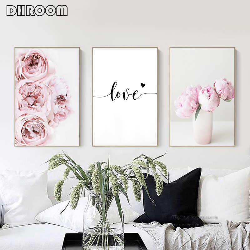 Canvas Painting Nordic Decor Pink Peony Flower Poster and Print Love Wall Art Floral Picture Bedroom Decor Home Decoration
