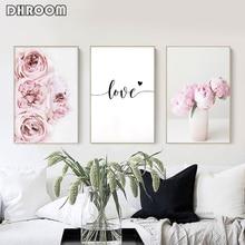 ภาพวาดผ้าใบ Nordic ตกแต่งดอกไม้สีชมพูโปสเตอร์และพิมพ์ Love Wall Art ภาพดอกไม้ตกแต่งห้องนอนตกแต่งบ้าน
