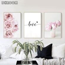 Pintura em tela nórdica, flor de peônia rosa, poster e impressão de flor, amor, arte de parede, imagem floral, decoração de quarto, casa