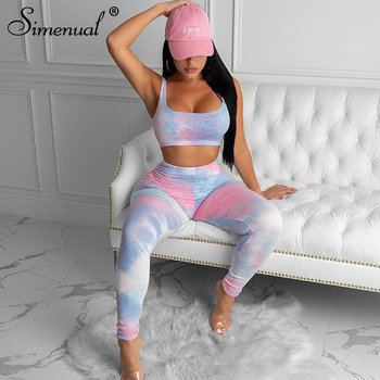 Simenual Sporty Active Wear Tie Dye Women Matching Sets Sleeveless Casual Fitness Workout Tracksuits Bodycon Top And Pants Set