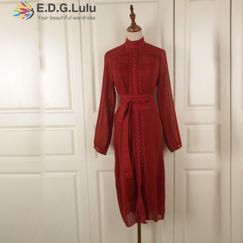 EDGLuLu o-neck lace-up white lace <font><b>dress</b></font> long sleeve vintage chic sexy elegant button decoration red autumn <font><b>dress</b></font> women image