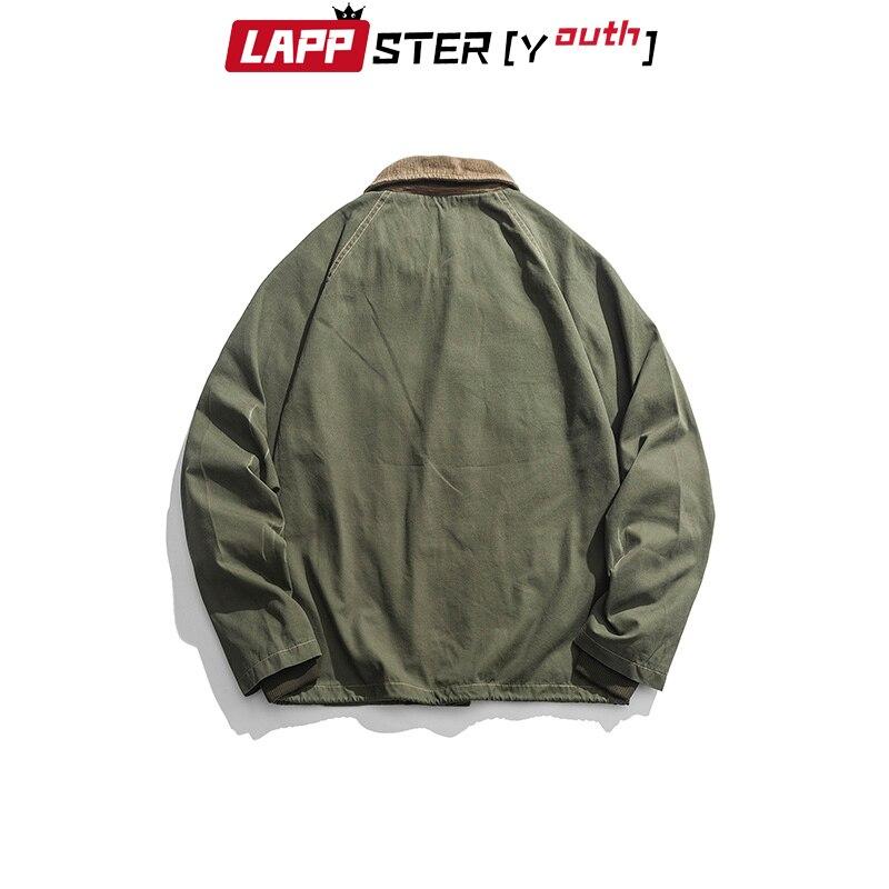 LAPPSTER Men Harajuku Vintage Bomber Jacket 2020 Mens Green Cargo Jacket Windbreaker Pockets Hip Hop Streetwear