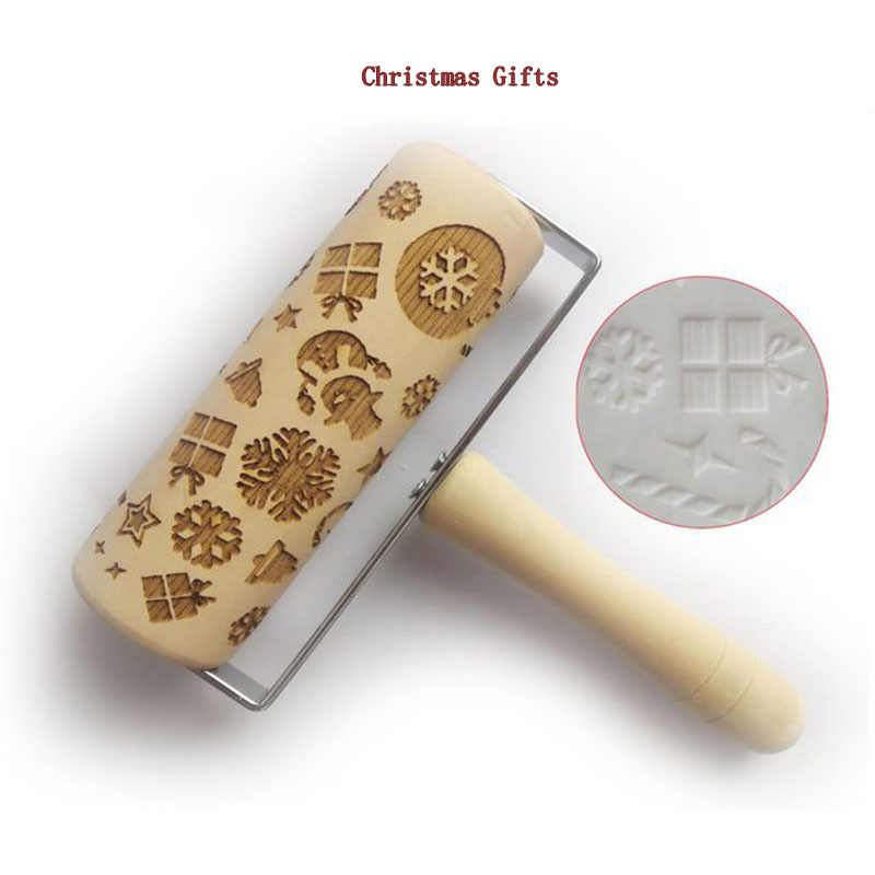 Christmas Printing Rolling Pin 13.9cm Environmental Protection Roller Rolling Pin Kitchenware Cookie Baking Baking Rolling Pin