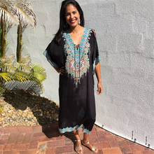 2019 Black Indie Folk Embroidered Bats Sleeve Loose Summer Beach Dress Moroccan Kaftan Plus Size Women Beachwear Maxi