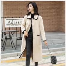 New Korean version of wool overcoat small smell on the neck of fashion dolls women long coat dames jassen winter(China)