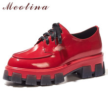 цены Meotina High Heels Women Pumps Natural Genuine Leather Thick High Heel Shoes Real Leather Round Toe Shoes Female Red Size 34-39