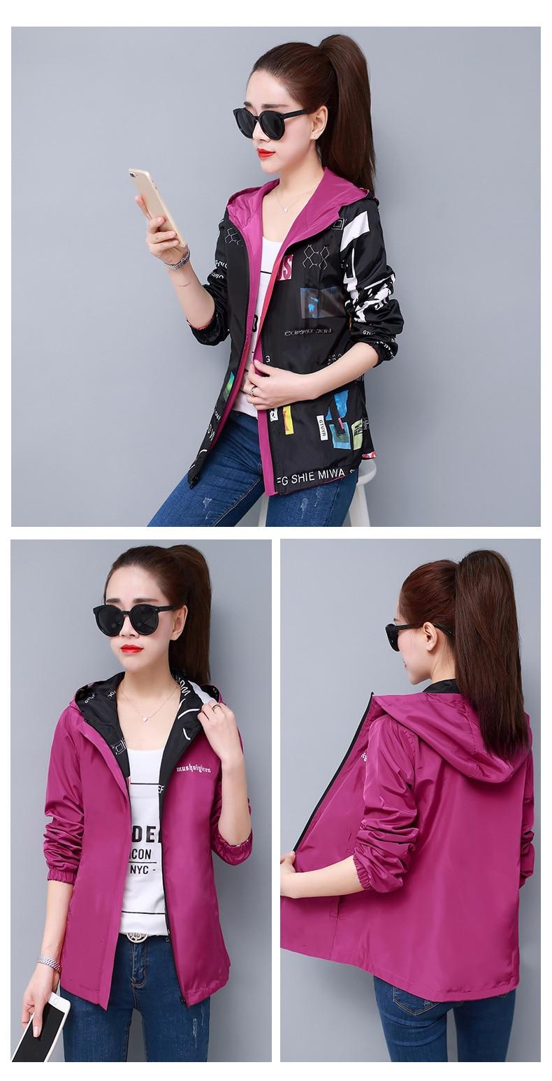 H7253e964f4dc494899eb81e285291210C Streetwear Hooded Printed jacket women And Causal windbreaker Basic Jackets 2019 New Reversible baseball Zippers jacket 4XL
