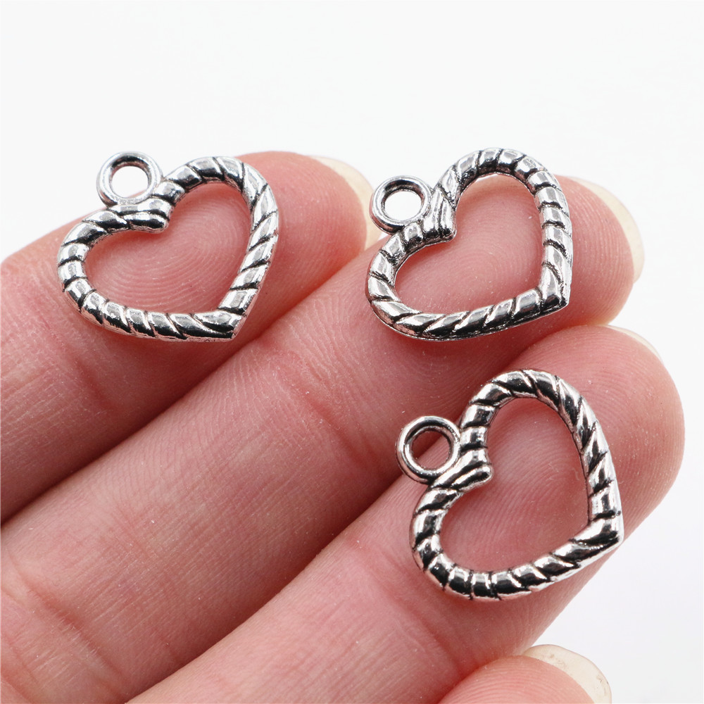 17x17mm 30pcs Antique Silver Plated Heart Handmade Charms Pendant:DIY For Bracelet Necklace-P5-12