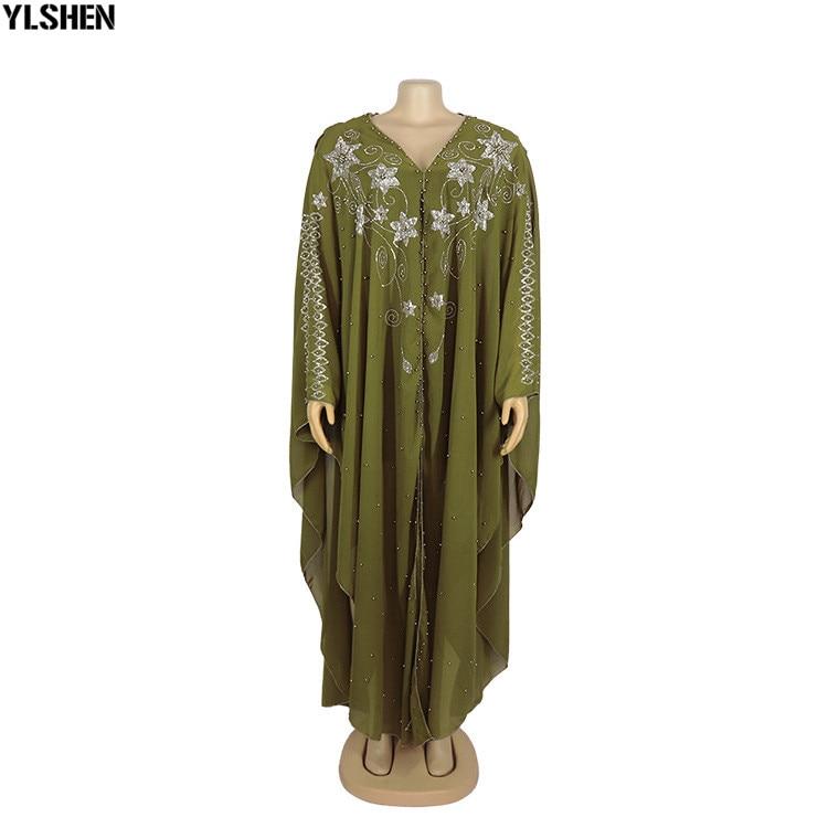Length 150cm Africa Dress African Dresses for Women Dashiki Diamond Beaded Traditional Boubou African Clothes Abaya Muslim Dress 13