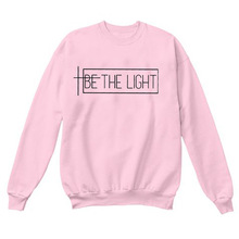 BE THE LIGHT Autumn and Winter Letter Printing Street Tide New Sweatshirt Top Ladies Round Neck Fashion Long Sleeves Hoodie light grey top with stripe and long sleeves