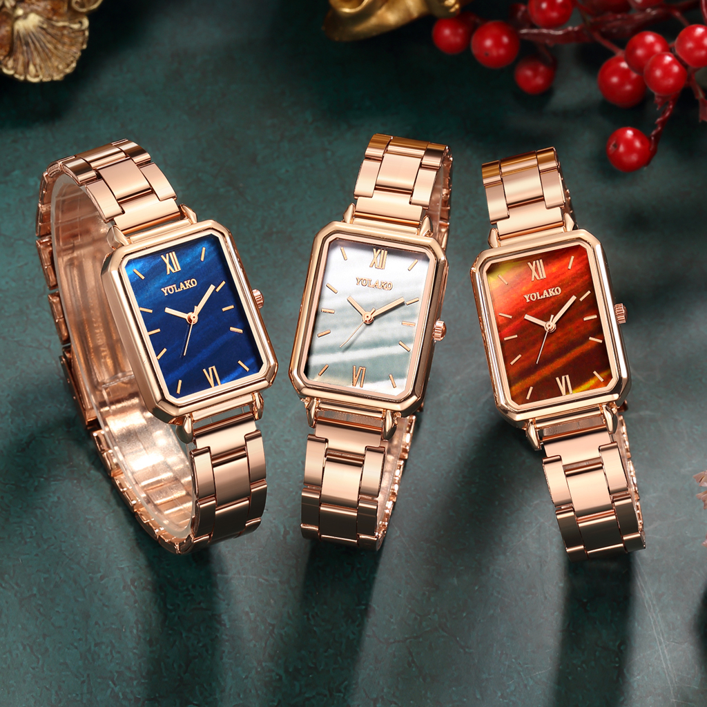 Reloj Mujer Women Rectangle Green Marble Dial Roma Watches YOLAKO Female Rose Gold Stainless Steel Quartz Wrist Watches 5