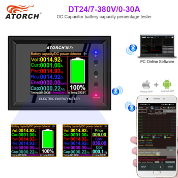 ATORCH Digital Display DC Power Supply Voltmeter Ammeter Battery Capacity Tester Battery Fuel Gauge Power Meter color app battery tester electronic load 18650 capacity monitor indicator discharge charge usb meter dc 12v power supply checker