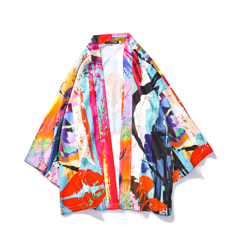 Harajuku Kimono Cardigan 2019 Fashion Lovers Individuality Print Outerwear Men Loose Jacket Yukata Coat Baggy Summer Tops Blouse