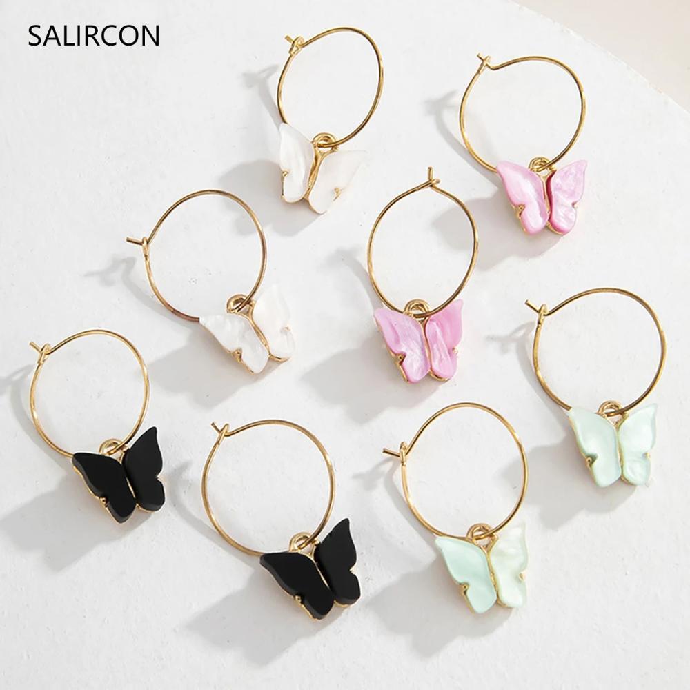 Salircon Cute Korean Butterfly Earrings Aesthetic Aretes Acrylic Small Hoop Earring Gold...