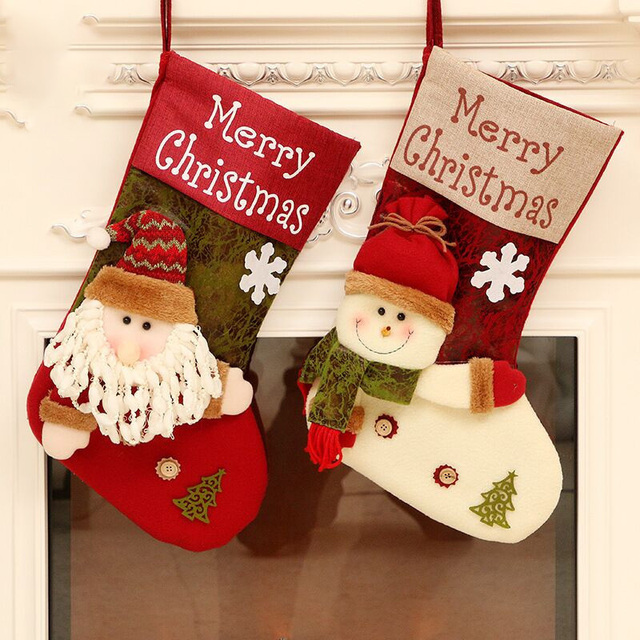 Christmas Decorations Christmas Socks Gift Bag Santa Claus Candy Bag Christmas Tree Ornaments Xmas Stockings & Gift Holders Bags 1
