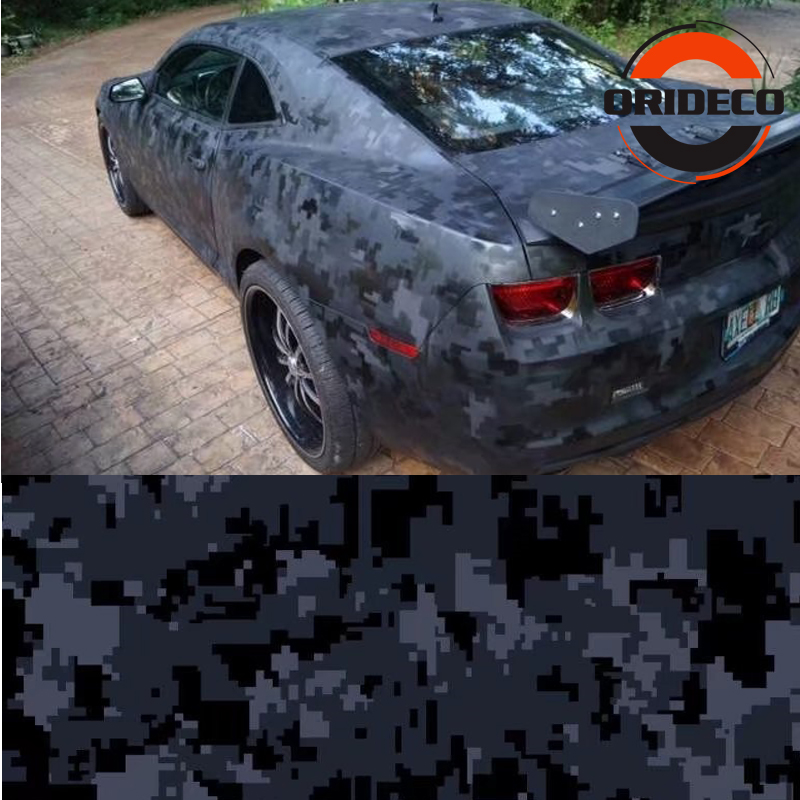 5/10/15/20/25/30m * 1.52m Grijs Zwart Digitale Camouflage Auto sticker Digit Camo Vinyl voor Auto Voertuig Body Wraps