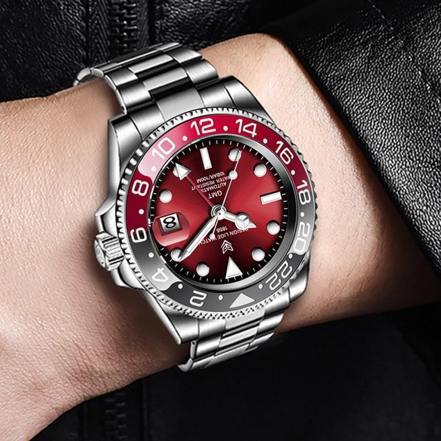 LIGE DESIGN Men GMT Automatic Mechanical Watch Ceramic Bezel 316L Stainless Steel 100ATM Waterproof Clock Sapphire Glass Watches 5