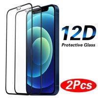 2Pcs Volle Abdeckung Schutz Glas auf Für iPhone 11 12 Pro Max XS XR 12 Mini Glas Screen Protector iPhone 7 8 Plus SE 2020 Glas
