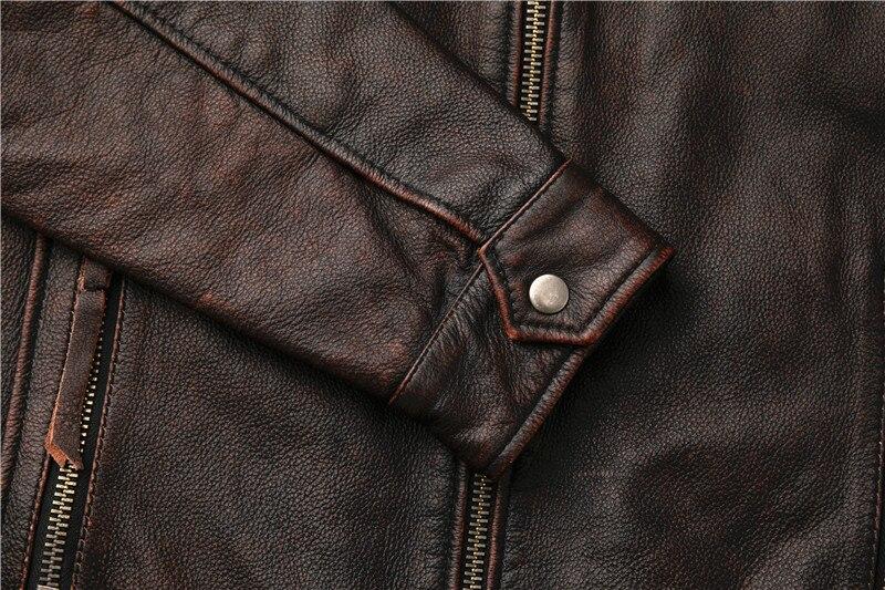 H7254b6c4c5b440b2afa25e47e8bb3144Q Classic motor style,vintage genuine leather Jacket,fashion men brown Leather coat,street biker coat,sales