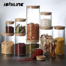 Réservoir de stockage alimentaire en verre Borosilicate, récipient alimentaire couvert de bambou, réservoir en verre scellé, organisateur de céréales diverses de cuisine