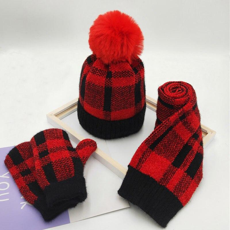 Kids Winter Hat Scarf Glove Set Fleece Lined Girls Beanie Gloves Plaid Scarves 3 Piece Set Fashion Winter Accessories