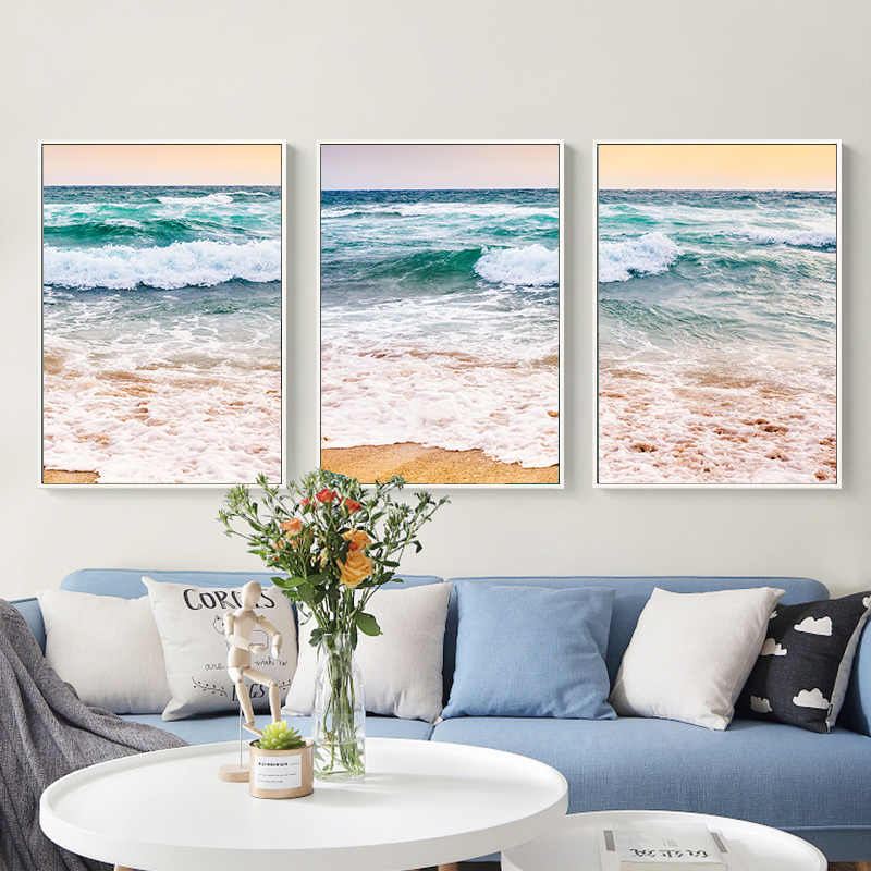 Modern Sea Wave Photo Canvas Painting Wall Art Picture For Living Room Home Decoration Pictures On The Wall cuadros
