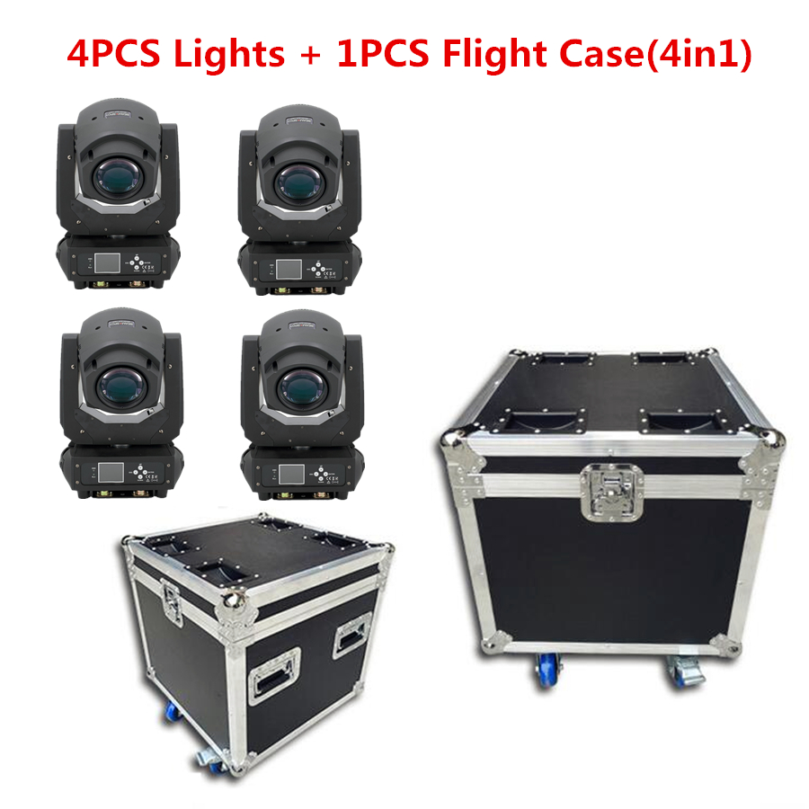 4PCS Lights + 1PCS Flight Case Led 200w 3in1  Beam/Spot Light DMX512 Moving Head Light DJ /Bar /Party /Show /Stage Light
