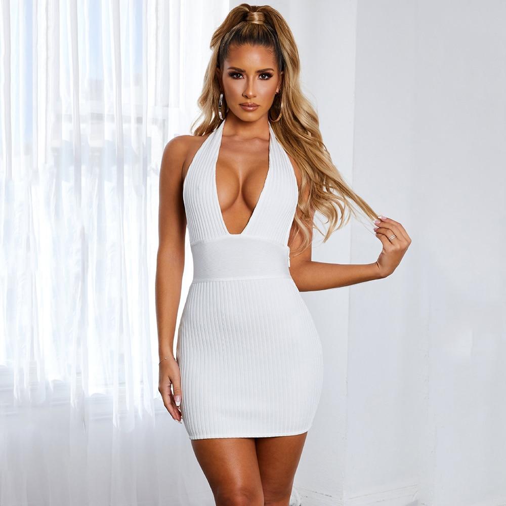 2021 Zomer Vrouwen Wit Mini Mouwloze Sexy Diepe V-hals Halter Bodycon Bandage Jurk Vestidos Celebrity Runway Party Jurken