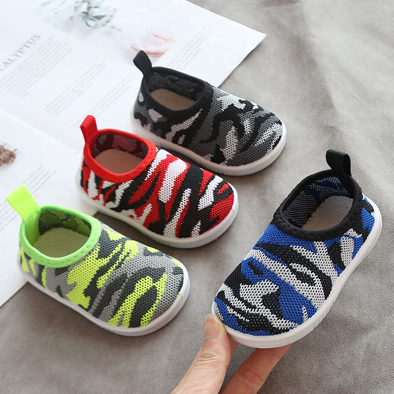 Baby Boy Girl Toddler Camouflage Shoes Baby Non-slip Shoes Sock Floor Shoes Foot Short Socks 4colors  1-3years 19-23 Q50 TB01