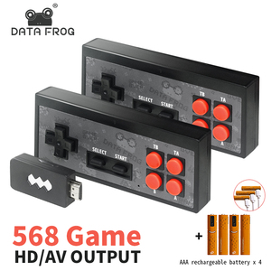 Image 1 - Daten Frosch Video Spiele Konsole Wireless USB Handheld Retro Spiel Gebaut In 1400 + NES 8 Bit Spiel Mini Konsole bewegen Duble Gamepad