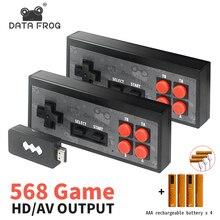 נתונים צפרדע וידאו משחקי קונסולת אלחוטי USB כף יד רטרו משחק מובנה 1400 + NES 8 סיביות משחק קונסולת מיני מהלך Duble Gamepad