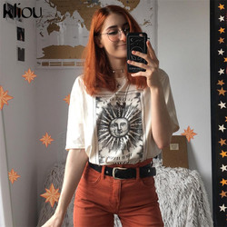 Kliou 2019 Cotton Hipster T-shirt Women The Print Short Sleeve O-neck Fashion Casual Summer Female Lengthen Loose T shirt Tops