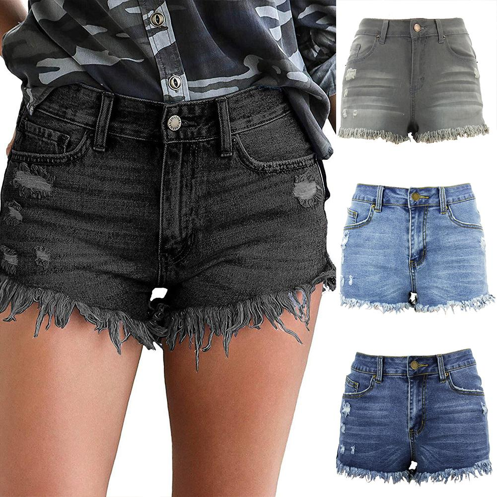 Female Fashion Summer Sexy High Waist Tassel Holes Denim Shorts Women Casual Fringe Frayed Ripped Jeans Perfect For Daily Wear