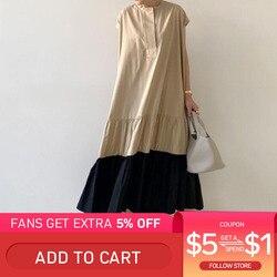 2020 verão vestido plissado costura manga curta vestidos longos em torno do pescoço bolso solto japonês casual feminino maxi vestidos caqui