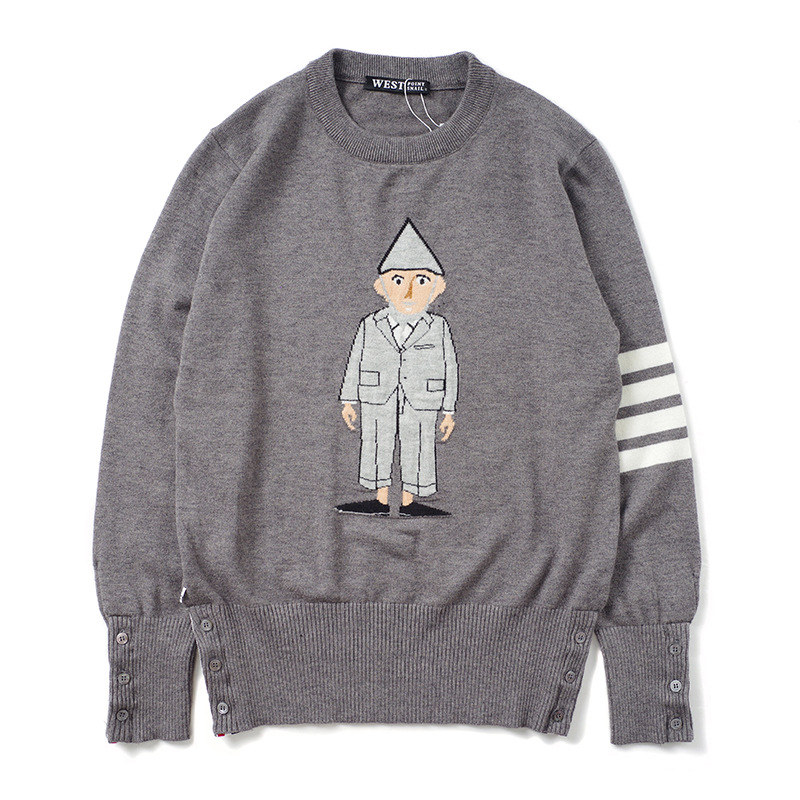 New 2019 Men Luxury Winter Striped Embroidered Character Knit Casual Sweaters Pullover Asian Plug Size High Quality Drake #E20
