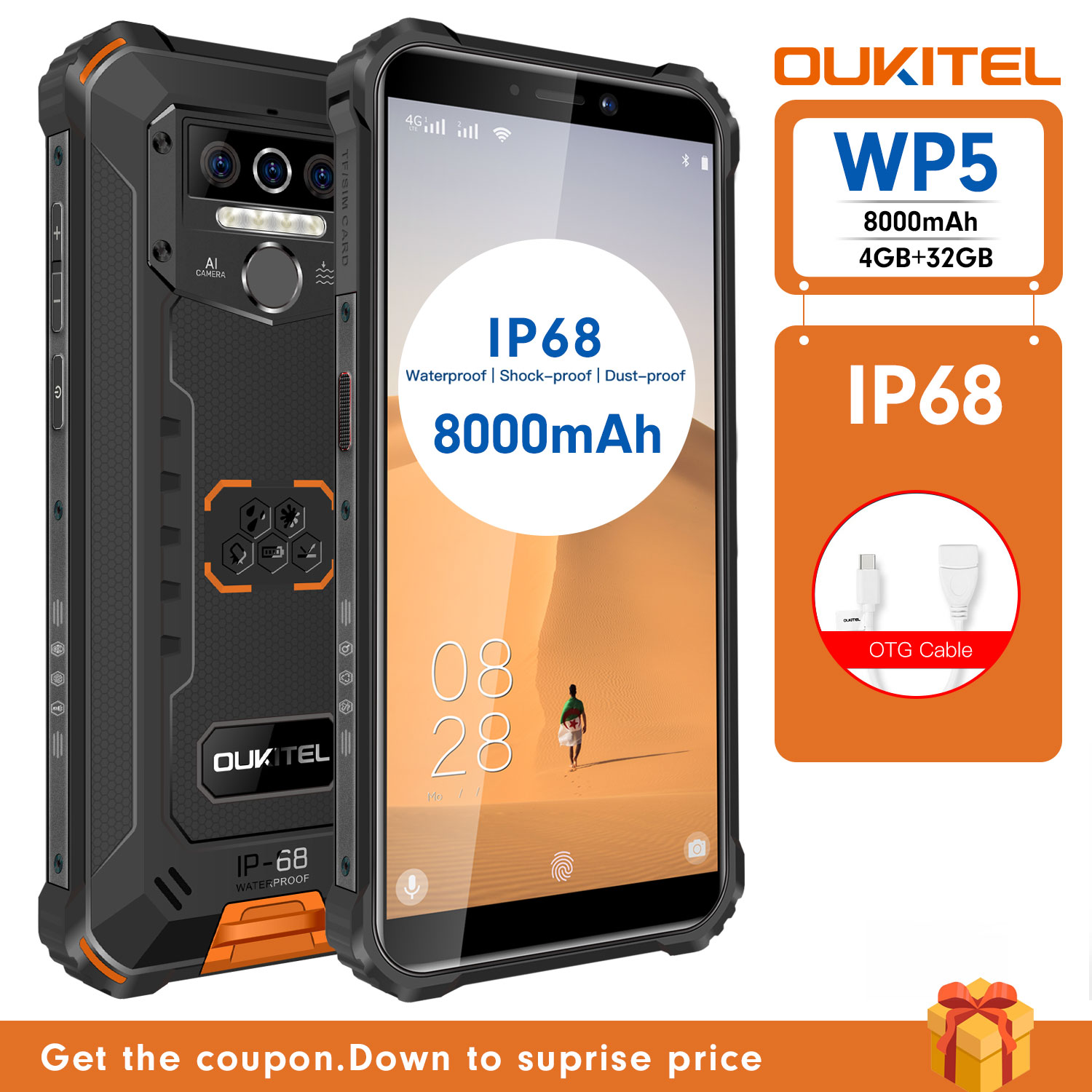 OUKITEL WP5 IP68 Waterproof Smartphone 8000mAh Android 9.0 Triple Camera Face/Fingerprint ID 5.5 inches 4GB 32GB Mobile Phones
