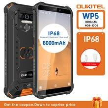 OUKITEL WP5 IP68 Waterproof Smartphone 8000mAh Android 9.0 Triple Camera Face/Fingerprint ID 5.5 inc