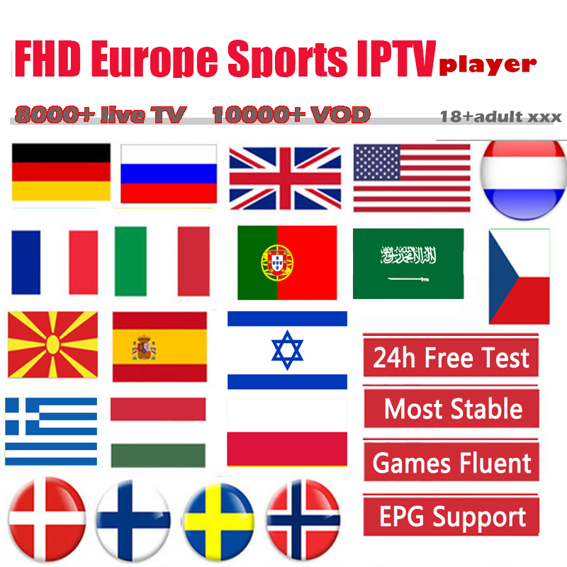 Smart TV Box Iptv M3u Subscription Arabic French Spain USA Sports Adult 18+ Enigma2 MAG 8000liveTV 10000VOD IPTVPLAYER FREE TEST