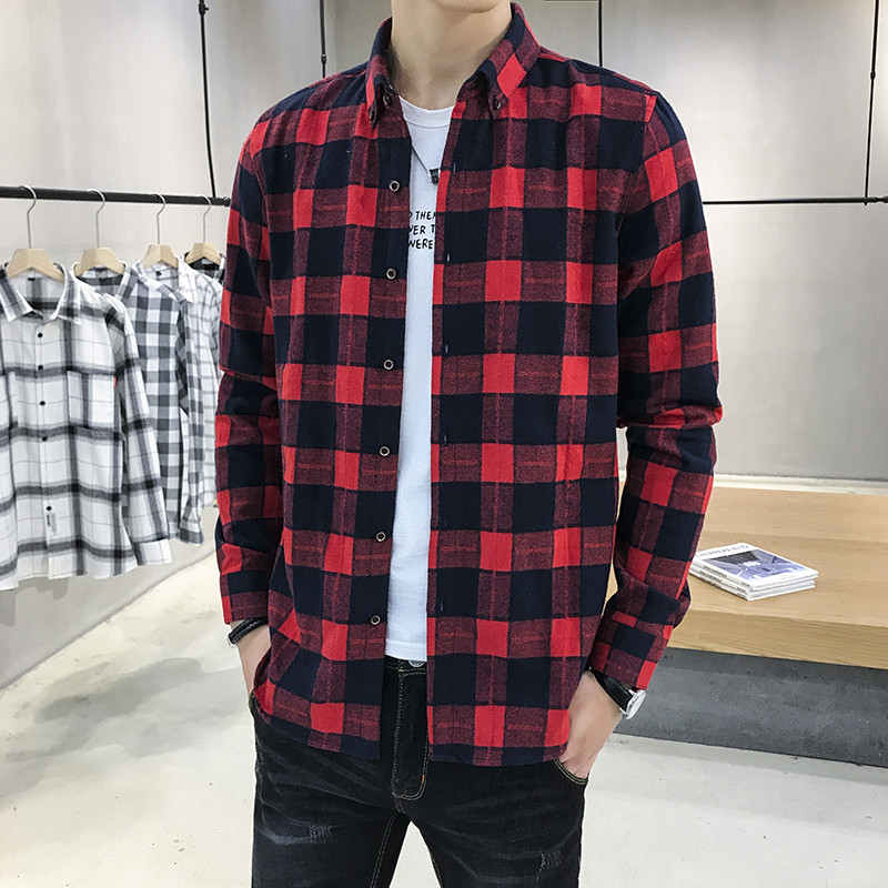 Loose-Fit Men's Shirt Spring And Autumn New-Hip Hop Plaid Long-Sleeve Shirt Korean Style Fashion Wild Personality Clothes