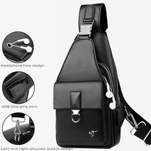 Men s Waterproof USB PU Crossbody Bag Anti theft Shoulder Sling Bag Multifunction Short Travel Messenger Chest Pack For Male