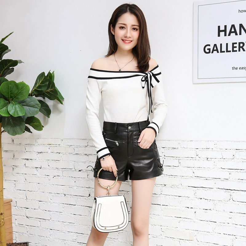 Top Quality Women Genuine Leather Sheepskin Shorts Side Drawstring Zipper Fly Pocket Mid Waist Streetweat Modis Female Short